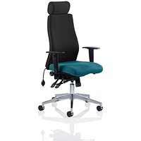 Onyx Posture Chair, With Headrest, Black Back, Maringa Teal