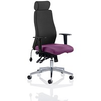 Onyx Posture Chair, With Headrest, Black Back, Tansy Purple