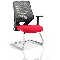 Relay Cantilever Visitor Chair, Silver Mesh Back, Bergamot Cherry