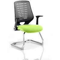 Relay Cantilever Visitor Chair, Silver Mesh Back, Myrrh Green