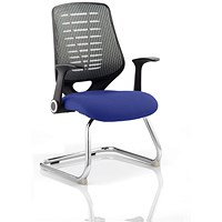Relay Cantilever Visitor Chair, Silver Mesh Back, Stevia Blue