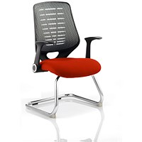 Relay Cantilever Visitor Chair, Silver Mesh Back, Tabasco Red