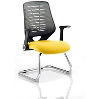 Relay Cantilever Visitor Chair, Silver Mesh Back, Senna Yellow