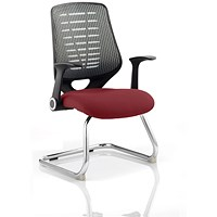 Relay Cantilever Visitor Chair, Silver Mesh Back, Ginseng Chilli
