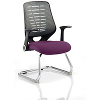 Relay Cantilever Visitor Chair, Silver Mesh Back, Tansy Purple