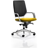 Xenon Medium Back Executive Chair, White Shell, Black Back, Senna Yellow