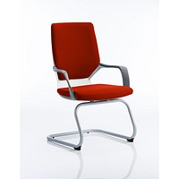 Xenon Visitor Chair, White Shell, Tabasco Red