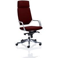 Xenon High Back Executive Chair, With Headrest, White Shell, Ginseng Chilli