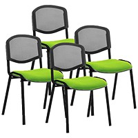 ISO Black Frame Mesh Back Stacking Chair, Myrrh Green, Pack of 4