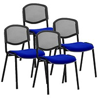 ISO Black Frame Mesh Back Stacking Chair, Stevia Blue, Pack of 4