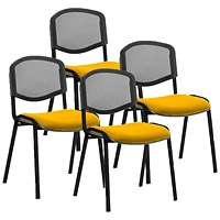 ISO Black Frame Mesh Back Stacking Chair, Senna Yellow, Pack of 4