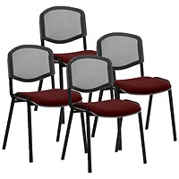 ISO Black Frame Mesh Back Stacking Chair, Ginseng Chilli, Pack of 4