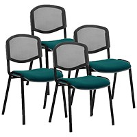 ISO Black Frame Mesh Back Stacking Chair, Maringa Teal, Pack of 4