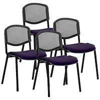 ISO Black Frame Mesh Back Stacking Chair, Tansy Purple, Pack of 4