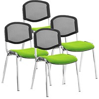 ISO Chrome Frame Mesh Back Stacking Chair, Myrrh Green, Pack of 4