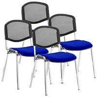 ISO Chrome Frame Mesh Back Stacking Chair, Stevia Blue, Pack of 4
