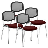 ISO Chrome Frame Mesh Back Stacking Chair, Ginseng Chilli, Pack of 4