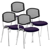ISO Chrome Frame Mesh Back Stacking Chair, Tansy Purple, Pack of 4