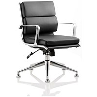 Savoy Leather Executive Medium Back Chair, With Chrome Glides, Black