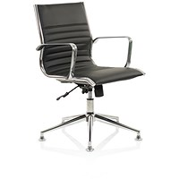 Ritz Leather Executive Medium Back Chair, With Chrome Glides, Black