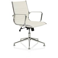 Ritz Leather Executive Medium Back Chair, With Chrome Glides, Ivory
