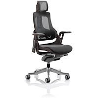 Zure Executive Chair, With Headrest, Black Frame, Charcoal Mesh Back