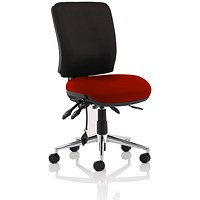 Chiro Medium Back Operator Chair, Black Back, Ginseng Chilli