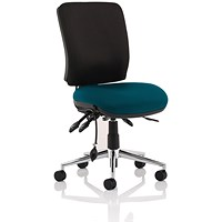 Chiro Medium Back Operator Chair, Black Back, Maringa Teal