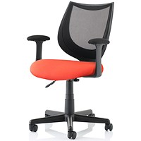 Camden Operator Chair, Black Mesh Back, Tabasco Red