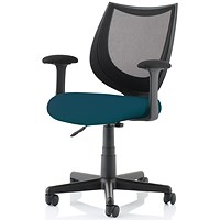 Camden Operator Chair, Black Mesh Back, Maringa Teal