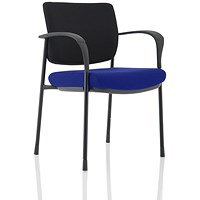 Brunswick Deluxe Visitor Chair, With Arms, Black Frame, Black Fabric Back, Fabric Seat, Stevia Blue