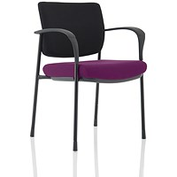 Brunswick Deluxe Visitor Chair, With Arms, Black Frame, Black Fabric Back, Fabric Seat, Tansy Purple