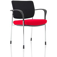 Brunswick Deluxe Visitor Chair, With Arms, Chrome Frame, Black Fabric Back, Fabric Seat, Bergamot Cherry