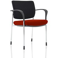 Brunswick Deluxe Visitor Chair, With Arms, Chrome Frame, Black Fabric Back, Fabric Seat, Ginseng Chilli