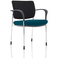Brunswick Deluxe Visitor Chair, With Arms, Chrome Frame, Black Fabric Back, Fabric Seat, Maringa Teal