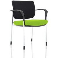 Brunswick Deluxe Visitor Chair, With Arms, Chrome Frame, Black Fabric Back, Fabric Seat, Myrrh Green