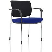 Brunswick Deluxe Visitor Chair, With Arms, Chrome Frame, Black Fabric Back, Fabric Seat, Stevia Blue
