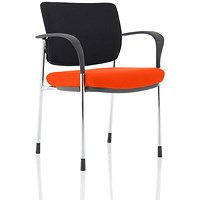 Brunswick Deluxe Visitor Chair, With Arms, Chrome Frame, Black Fabric Back, Fabric Seat, Tabasco Red