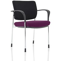 Brunswick Deluxe Visitor Chair, With Arms, Chrome Frame, Black Fabric Back, Fabric Seat, Tansy Purple
