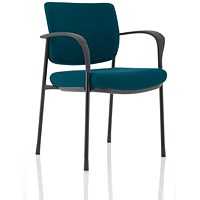 Brunswick Deluxe Visitor Chair, With Arms, Black Frame, Fabric Back and Seat, Maringa Teal