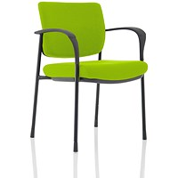 Brunswick Deluxe Visitor Chair, With Arms, Black Frame, Fabric Back and Seat, Myrrh Green