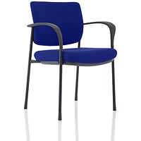 Brunswick Deluxe Visitor Chair, With Arms, Black Frame, Fabric Back and Seat, Stevia Blue