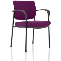 Brunswick Deluxe Visitor Chair, With Arms, Black Frame, Fabric Back and Seat, Tansy Purple