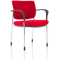 Brunswick Deluxe Visitor Chair, With Arms, Chrome Frame, Fabric Back and Seat, Bergamot Cherry