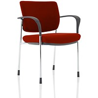 Brunswick Deluxe Visitor Chair, With Arms, Chrome Frame, Fabric Back and Seat, Ginseng Chilli