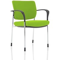 Brunswick Deluxe Visitor Chair, With Arms, Chrome Frame, Fabric Back and Seat, Myrrh Green