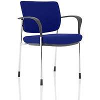 Brunswick Deluxe Visitor Chair, With Arms, Chrome Frame, Fabric Back and Seat, Stevia Blue