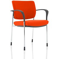 Brunswick Deluxe Visitor Chair, With Arms, Chrome Frame, Fabric Back and Seat, Tabasco Red