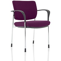 Brunswick Deluxe Visitor Chair, With Arms, Chrome Frame, Fabric Back and Seat, Tansy Purple