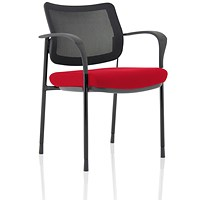 Brunswick Deluxe Visitor Chair, With Arms, Black Frame, Mesh Back, Fabric Seat, Bergamot Cherry
